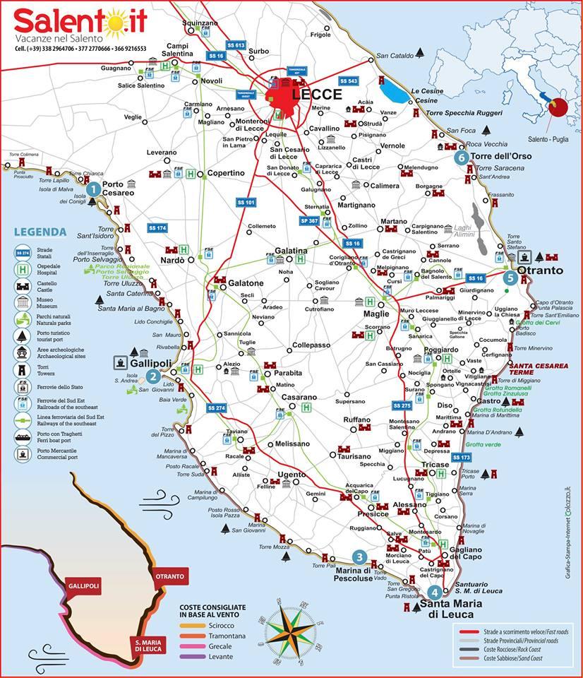 Salento Cartina Stradale.Dove Andare Nel Salento Dove Passare Le Vacanze In Salento Puglia